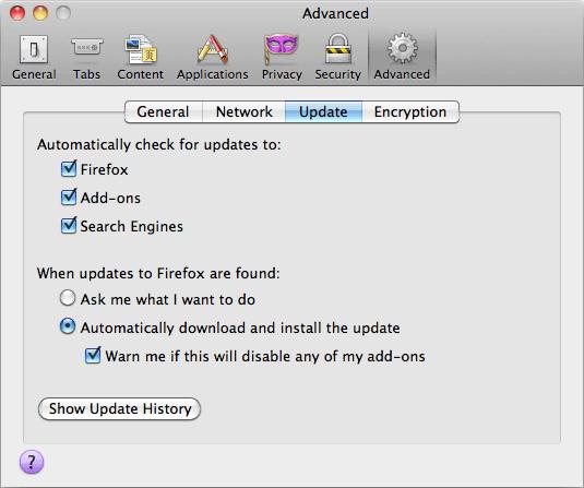 Скриншот настроек обновлений в Mozilla Firefox 3.6.6